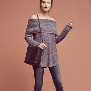 Anthropologie Lucerne Grey Cowl Neck Sweater